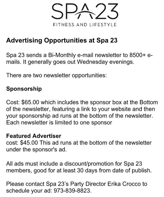 Spa 23 Advertising Flyer